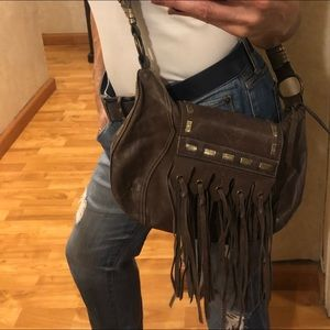 Fringed Coco Leather Crossbody Bag- gold accents